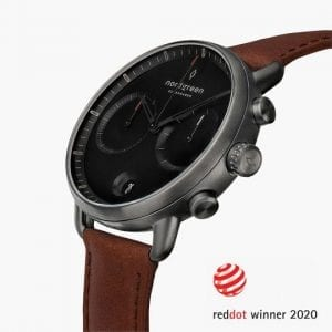 Pioneer black dial leather strap