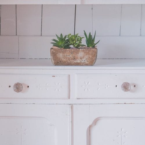 white wooden sideboard