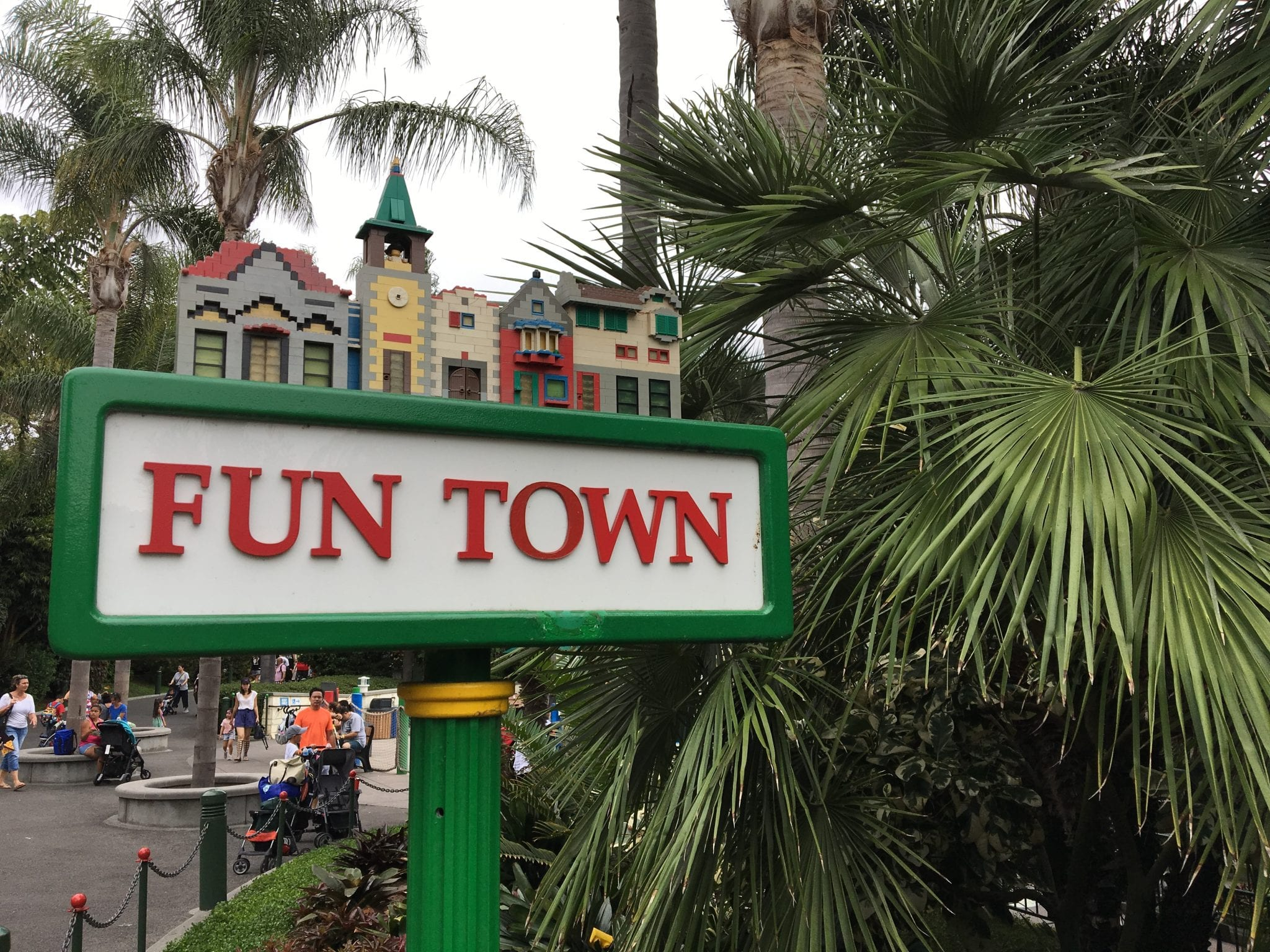 Fun town signage in front of building
